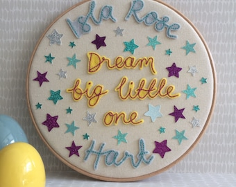 """Birth announcement- 9"""" embroidery hoop, Dream big little one, Nursery decor, new baby announcement, Hand embroidered hoop, colourful"""