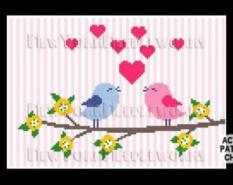 Lovebirds Cross Stitch, Birds Cross Stitch,  Cross Stitch Birds, Birds, Hearts, Lovebirds, Birds Pattern from NewYorkNeedleworks on Etsy