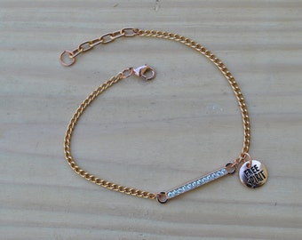 Rose Gold Blingy Charm Anklet/Dainty Ankle Jewelry