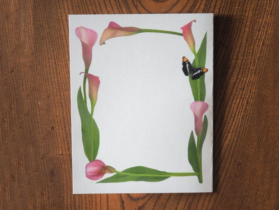 Pink Calla Lily Butterfly Border, Printable Flower Border, Floral ...