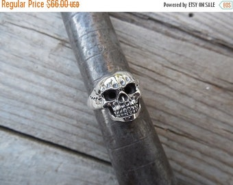 ON SALE Skull ring cast and antiqued in sterling silver