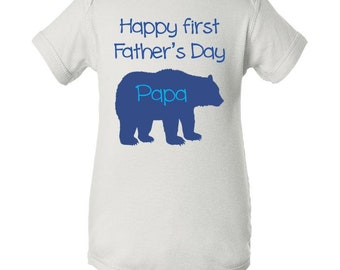 Papa Bear First Father's Day Baby Stole My Heart  Baby Onesie