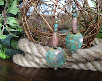 Vintage Brass Earrings With Patina