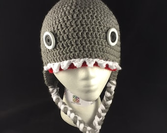 Crochet Shark Hat, Jaws Hat, Great White Hat, Shark Week Hat, Shark Photo Prop, Shark Beanie