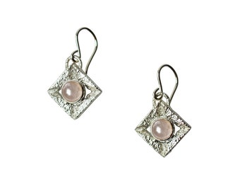 Sacred Earrings with Pink Quartz, Quartz Earrings, Gemstone Earrings, Dangle Earrings with Stones, Pink Quartz Earrings, Geometric Earrings