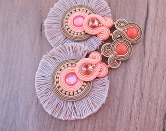 Coral Tassel Clip On earrings, Long Statement Soutache Earrings, Peach and Beige Earrings with Crystals and Tassels