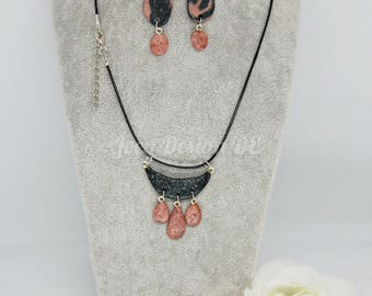 Jewelry Set polymer clay black-rosegold - idea for valentines day, mothers day or birthdays