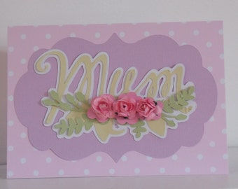 Pretty Floral and Polka Dot Card with Flowers
