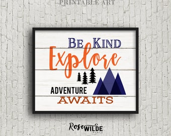 BE Kind, Explore Adventure Awaits, Digital Download, Rustic Boys Woodland Nursery Art Decor, Antlers, Faux Wood, Tribal Art, Orange Navy