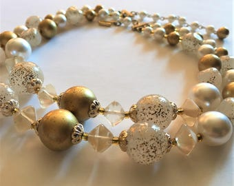 Mid Century Two Strand White and Gold Lucite Necklace signed Japan