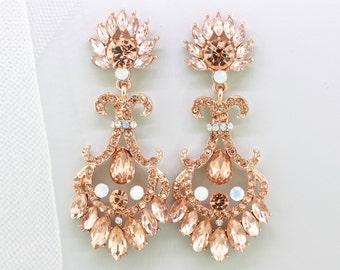 Bridal Blush Earrings,Rose Gold Crystal White Opal Chandelier Earrings,Bridesmaid Wedding Earrings Gift Jewelry,Rose Gold Opal Earrings