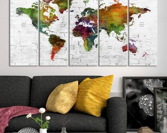 Extra Large Wall Art Watercolor Push Pin World Map Canvas Print - Colourful Push Pin Travel Map with Country Names on White Brick Background