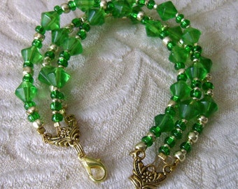 Emerald Gold Glass Crystal BeadsBracelet, Three Strand Bracelet, Green Bracelet