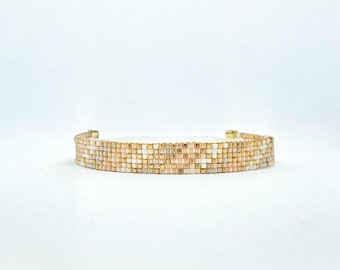 Woven bracelet with gold plated Miyuki beads - adjustable clasp