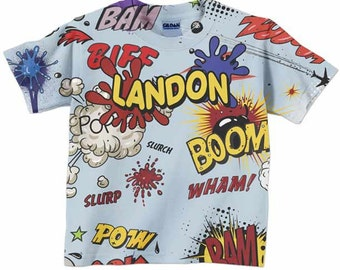 Boom Pow Comic Shirt, Boys Personalized Superhero Birthday Top, Childrens Clothing
