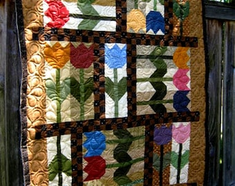 TULIP CRUSH - A scrappy Quilt Pattern- Designed by Karen M. Walker - Laugh Yourself Into Stiches #109