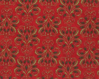 By The HALF YARD - Christmas Countdown by Deb Strain for Moda Fabrics, Pattern #19625-11 Red, Tonal Holly Green Damask on Christmas Red