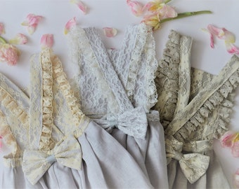 Linen lace dress for girls