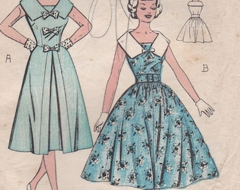 1950's Home Journal Pattern - 5409 Dress Pattern Size 32 inch bust Cut, Complete