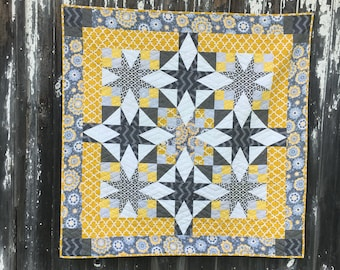 Gray and Yellow Star Quilt