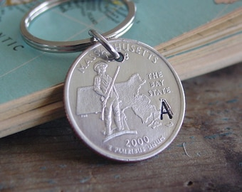 Quarter Keychain, State Keychain, Initial Keychain, Personalized Gift, Home State Pride, State Key Chain, Unique Gift, Boyfriend Gifts