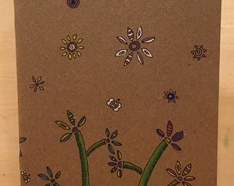 Journal: Hand-Illustrated Blank Book - colored flowers