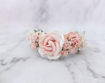 White blush flower wrist corsage - wedding accessories flower girls bridesmaids - flower bracelet