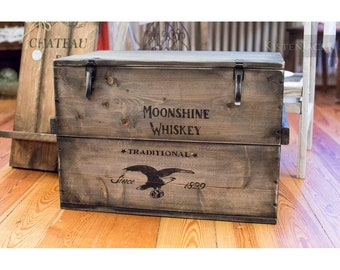 """Crate Box cargo Box Chest table """"Moonshine"""""""