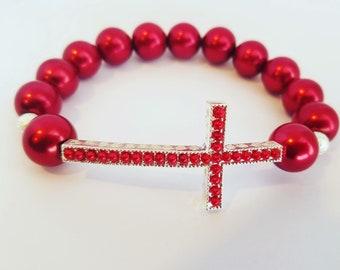 Colored cross bracelet