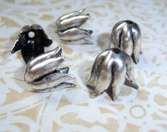 6- Antiqued 999 silver plated brass petaled bead caps by NUNN DESIGN - TX210