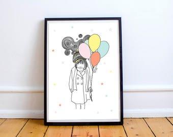 Girl with balloons - illustration, illustrations, kids prints, kids illustrations, kids poster, kids room, children room children decoration