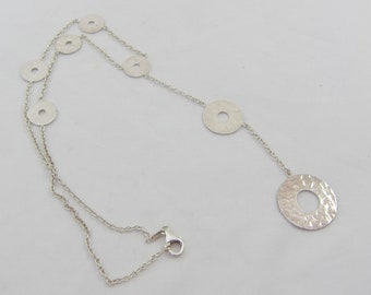 Silver Sterling Graduating Open Hammered Discs Lariat Y Necklace