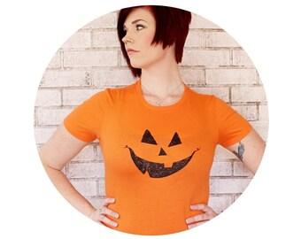 Carved Pumpkin Face Shirt, Ladies Cotton Crewneck Tshirt in Bright Orange, Hand Printed Graphic Tee, Halloween Jack- O- Lantern Autumn Fall