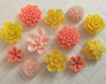 Flower Magnets Set of 12 - (#LE14) dorm decor, hostess gift, weddings, bridal shower, baby shower, gift, teacher gift