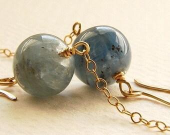 Blue Moon drop earrings, drop earrings grayish blue kyanite 14kt gold chain tassel dangle drop earrings
