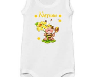 Bodysuit little bee tank top personalized with name