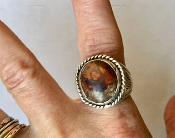 vintage cantera opal sterling ring, size 10