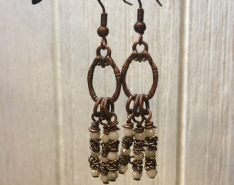 Copper and white glass earrings