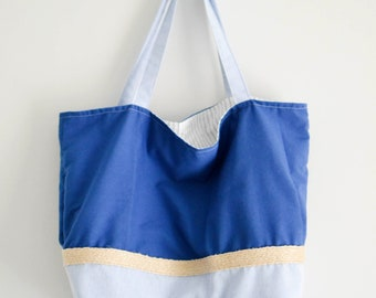 New Blue Two-Toned Beach Bag /Tote - Women's Fashion - Accessories - Blue Jean - Sustainable Fashion - Light Blue & Navy Bag - Stripes