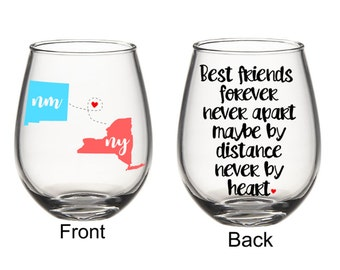 Best Friend Sister Long Distance States Wine Glass