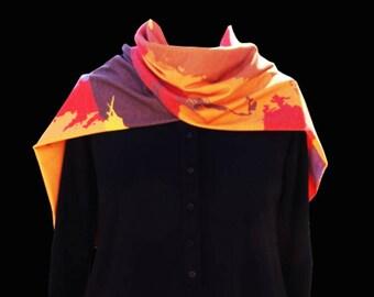 Brown scarf, Artistic scarf, winter scarf, long scarf, colorful scarf, ladies scarf, warm scarf, women scarf