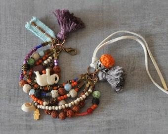 Bohemian Gemstone Bangle,  Hippie Tassel Bangle,  Boho Charmed Bangle,  Fall, Autumn Colors,  Free Shipping