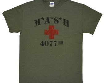 MASH 4077th tv Division Vintage Style Distressed citcom Heather Military Army Green T-Shirt
