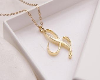 L initial necklace etsy l initial necklace cursive l initial gold pendant necklace monogram necklace for women personalized gold initial necklace for her aloadofball Gallery