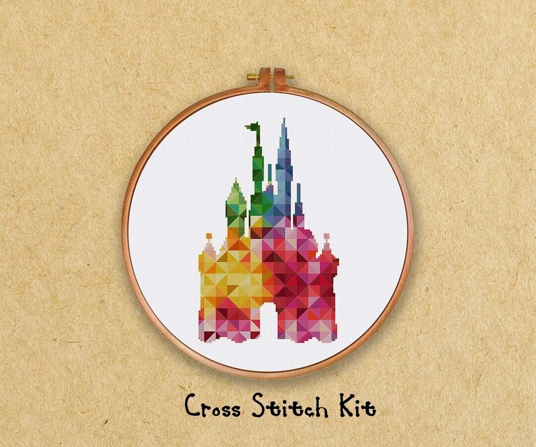 Geometric Disney Castle cross stitch kit, modern baby nursery fairy ...