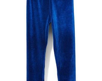 Royal Blue Velvet Leggings