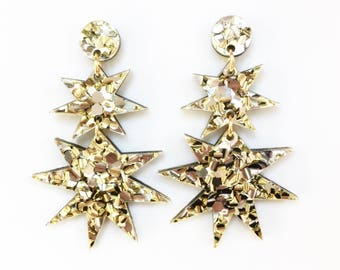 STAR drop earrings. Gold and silver glitter acrylic.