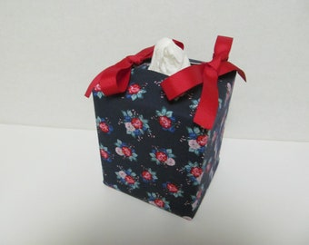 Tissue Box Cover/Rose On Dark Blue