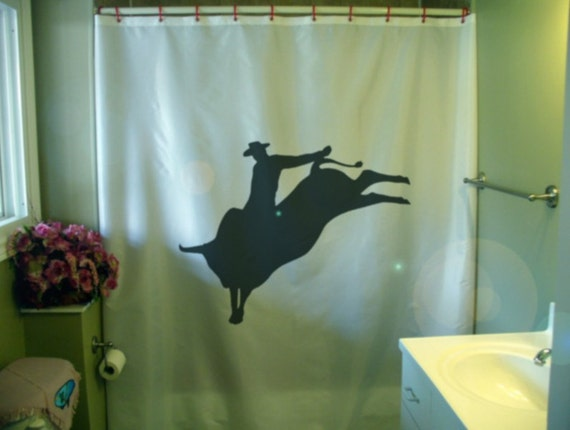 Bull Rider Shower Curtain Rodeo Cowboy Ride Buck Horn Wild