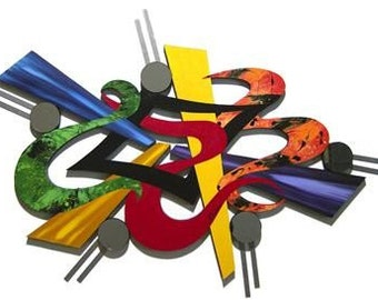 """Funky Vibrant Outburst Contemporary Modern Abstract Wall Sculpture, Wood With Mirrors & Metal wall decor 43""""x 30"""", unique, handmade by DAS"""